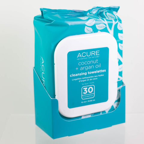 Acure Coconut Plus Argan Oil Towelettes 30 ct