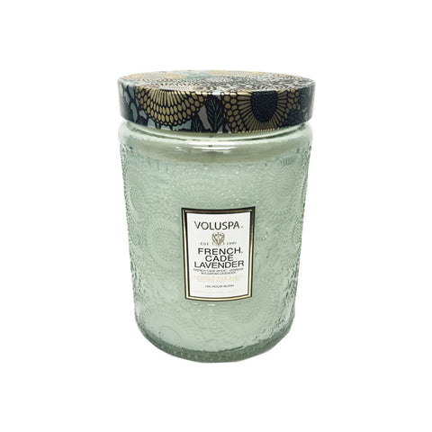 Voluspa Japonica Large Embossed Glass Jar -  French Cade & Lavender  16 oz