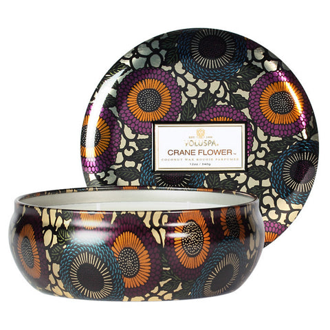 Voluspa Japonica 3 Wick in Decor Tin Crane Flower 12oz