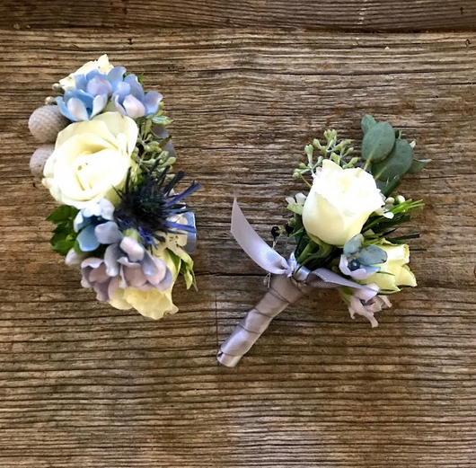 Matching Floral Cuff and Boutonniere