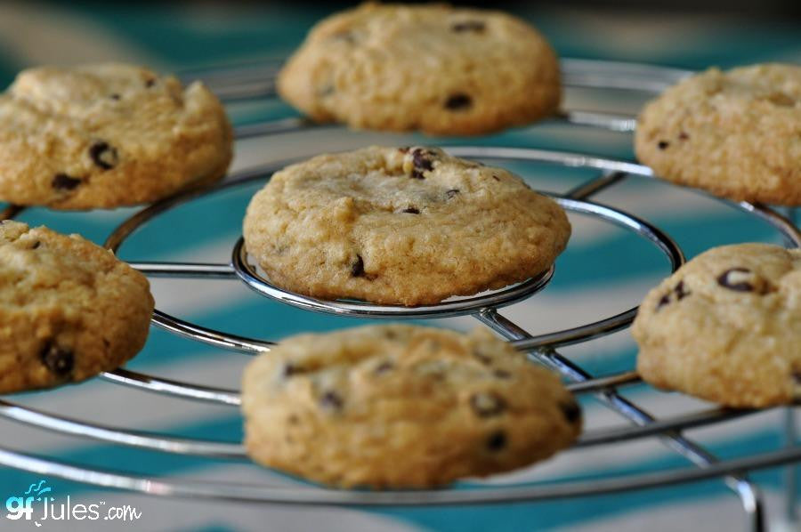 Gluten free oatmeal raisin cookies made with gfJules gluten free cookie mix