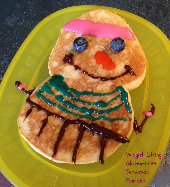 Gluten free snowman pancake made using gfJules gluten free pancake mix