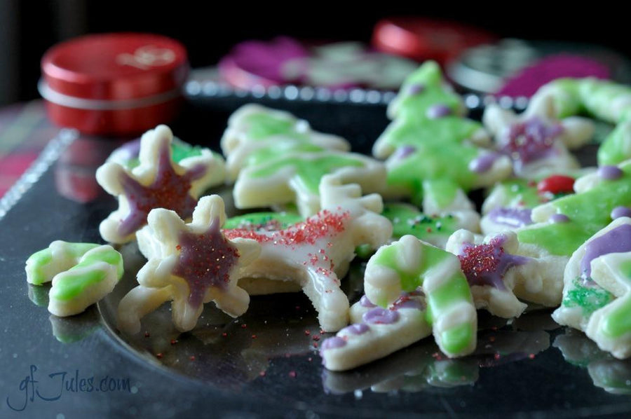 Gluten free holiday cookies made with gfJules gluten free cut out sugar cookie mix