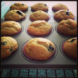 Gluten free blueberry muffins made with gfJules gluten free muffin mix