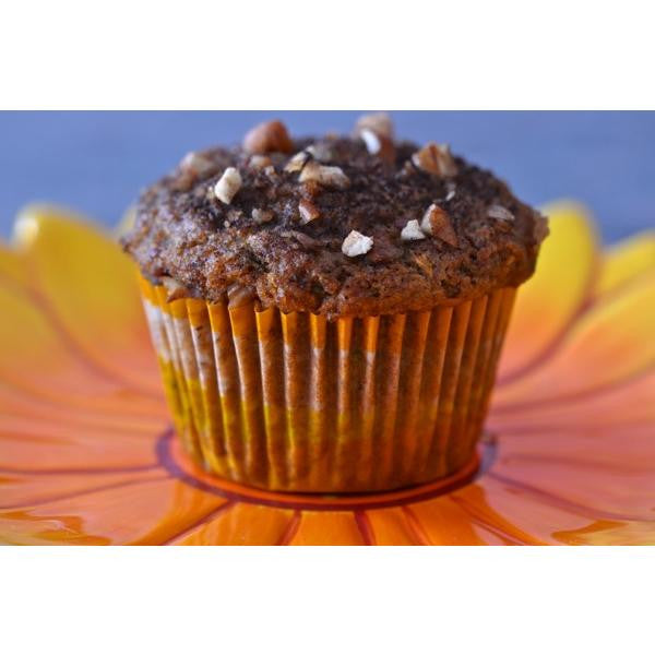Gluten free chocolate muffins made using gfJules gluten free muffin mix