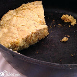 Gluten free cornbread in skillet, made with gfJules gluten free cornbread mix