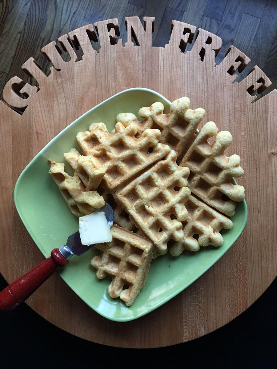 Gluten free cornbread waffles made using gfJules gluten free cornbread mix