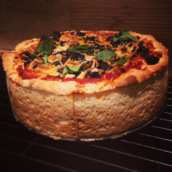 Gluten free Chicago-style deep dish pizza made with gfJules gluten free pizza crust mix