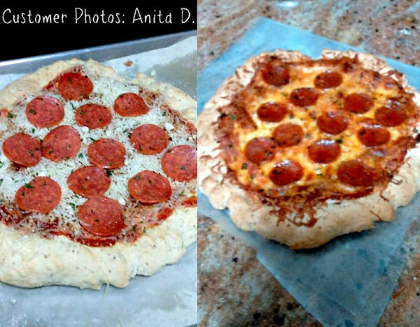 Gluten free pepperoni pizzas made using gfJules gluten free pizza crust mix