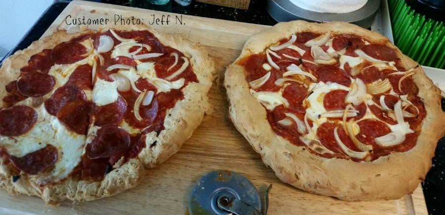Customer photos of gluten free cheese and pepperoni pizzas made from gfJules gluten free pizza crust mix