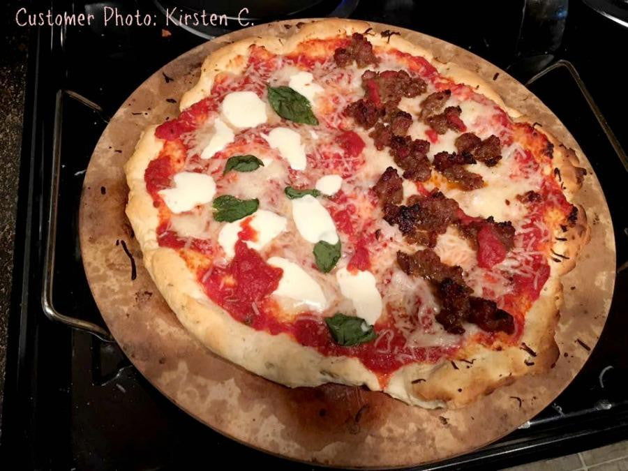 Homemade gluten free pizza made with gfJules gluten free pizza crust mix