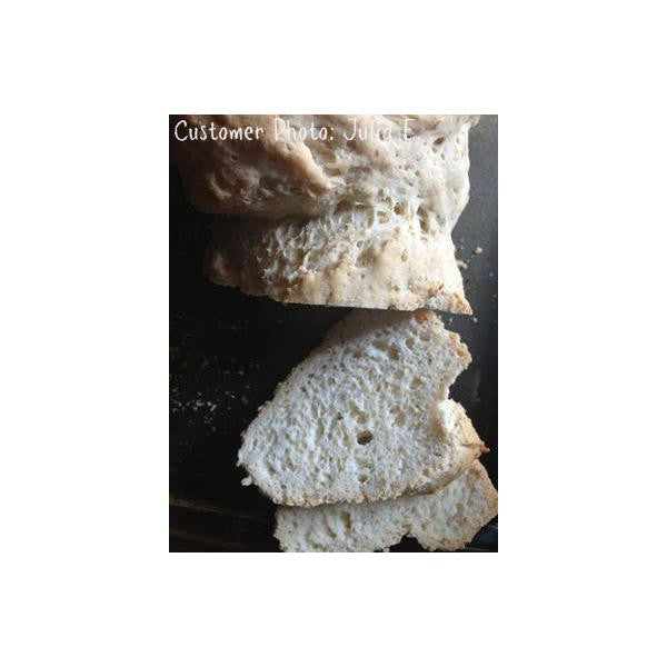 Slices of Gluten free baguettes made from gfJules gluten free pizza crust mix