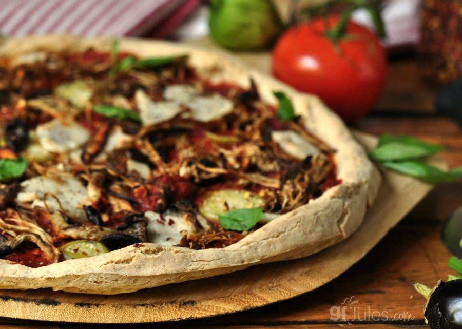 Gluten free grilled vegetables pizza made with gfJules gluten free pizza crust mix