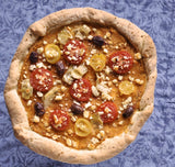Gluten free greek pizza made with gfJules gluten free pizza crust mix