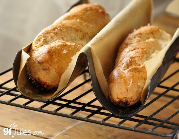 Gluten free baguettes made with gfJules gluten free pizza crust mix