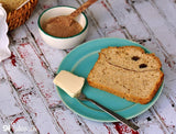 Gluten free cinnamon-raisin bread made with gfJules gluten free bread mix