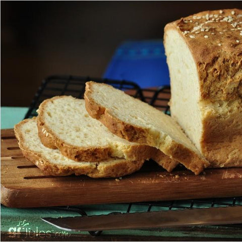 Sliced gluten free sandwich bread made with gfJules gluten free bread mix