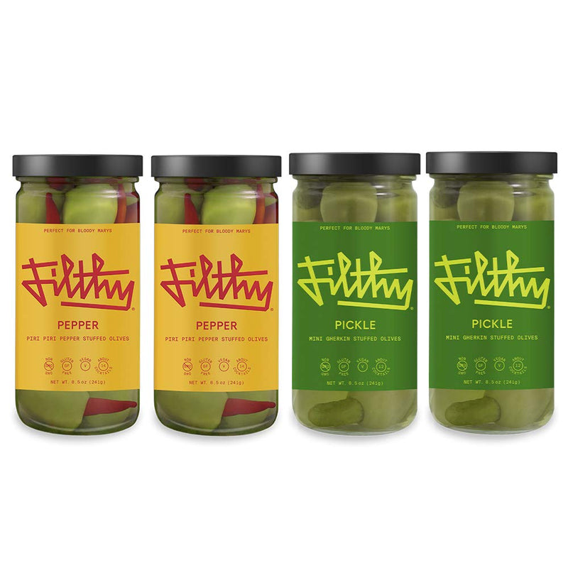 Filthy Food Bloody Mary Variety Pack - Pepper and Pickle - Premium Bloody Mary Garnish - Non-GMO & Gluten Free - 8oz Jar, 4 Count