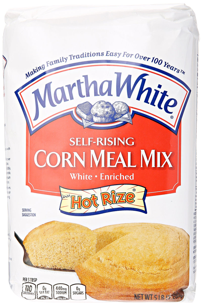 Smuckers Martha White Corn Meal Mix, Self-Rising, Enriched, White, 5 lb