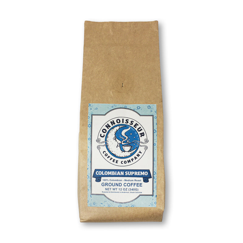 Connoisseur Coffee Company Colombian Supremo Ground Coffee - 100% Single Origin 12 oz Bag