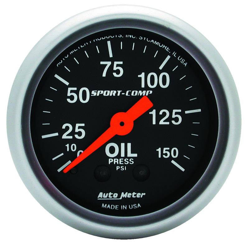 Autometer Sport Comp 52mm Mechanical 0-150 PSI Oil Pressure Gauge - 3323