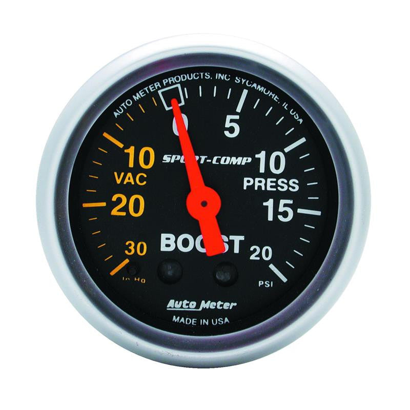 Autometer Sport-Comp 52mm 20 PSI Mechanical Boost Gauge - 3301