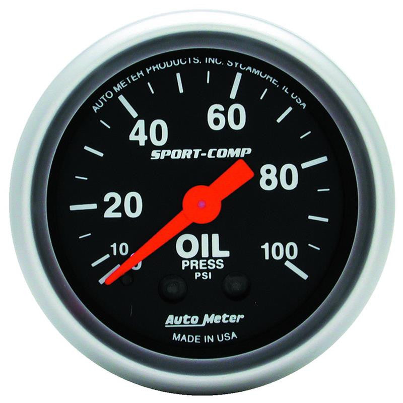 Autometer Sport Comp 52mm Mechanical 0-100 PSI Oil Pressure Gauge - 3321