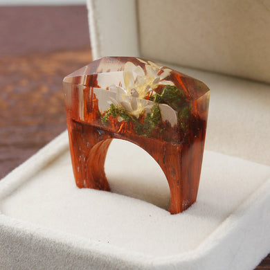 Ethereal Blossom Flower Resin Wood Ring