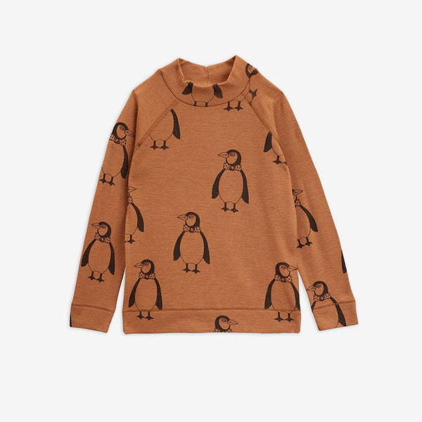Mini Rodini - AW20 - Penguin Wool LS Tee - Brown
