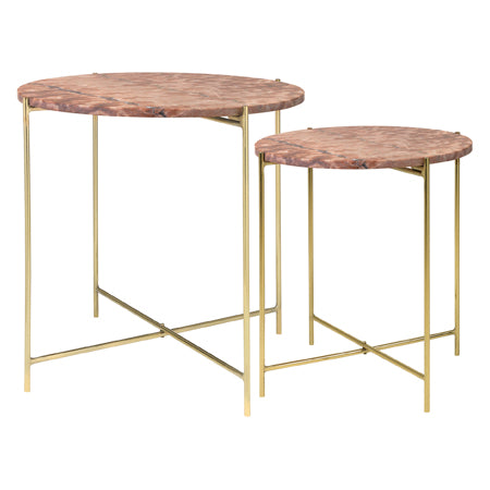 Cozy Living - Marble Table-RED/Brass - 2set