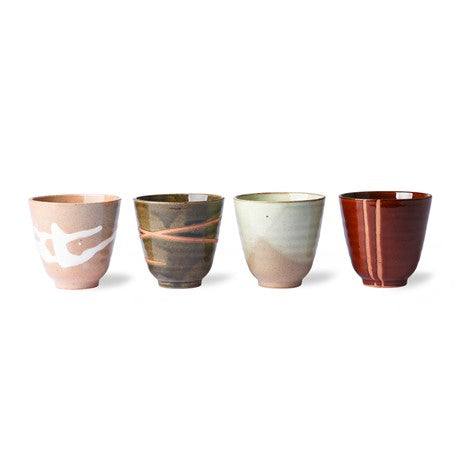 HK Living - kyoto ceramics: japanese yunomi mugs (set of 4)