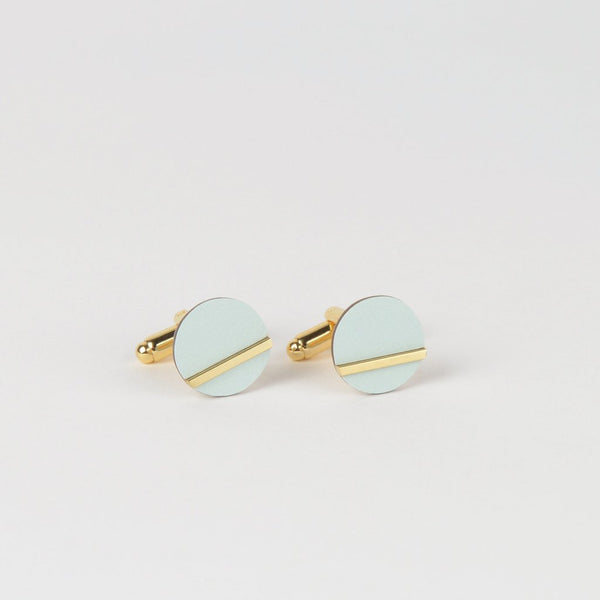 Tom Pigeon - Form Circle Cufflinks - Brass Ice