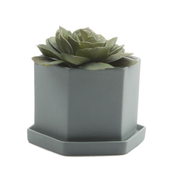 Chive - Hexi Pot & Saucer - Peacock Green