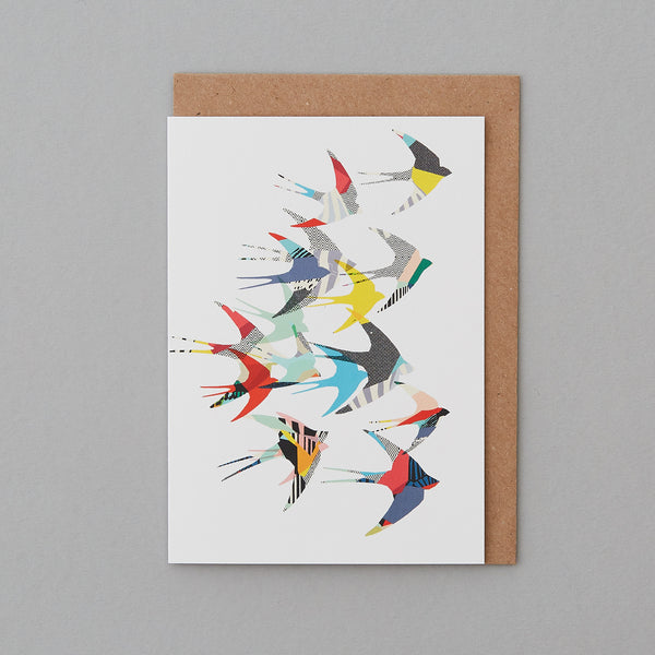 Kitty McCall - Flying Swallows Bird Card