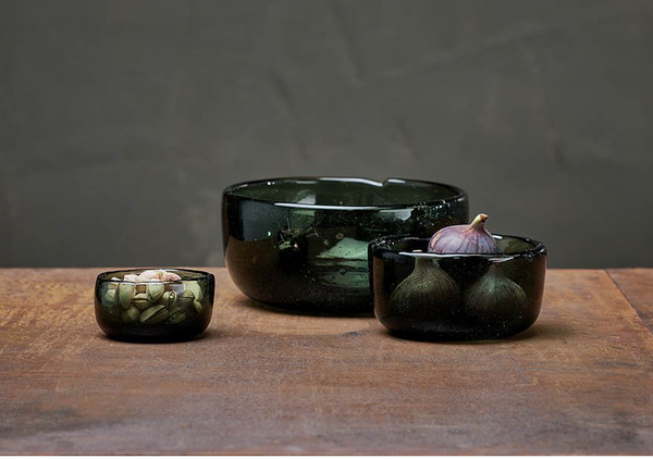 Nkuku - Riya Glass Bowl - Dark Emerald