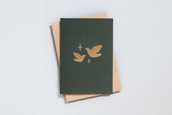 Ola -   Foil Blocked Card, Two Doves Print in Green/Brass