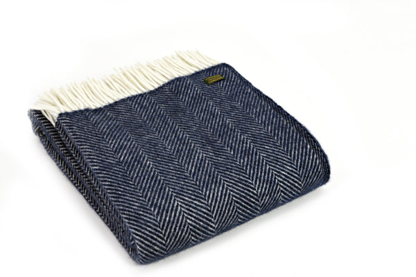 Tweedmill Textiles - Lifestyle Knee Rug - Fishbone Navy