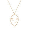 Weathered Penny - Face Necklace - Gold - Long
