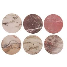 &Klevering - Set of 6 Marble Cork Coasters