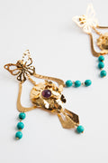 24K Gold Amethyst and Turquoise Paz Butterfly Earrings