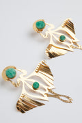 24K Gold and Raw Emerald Colombian Birds