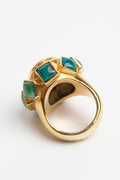 24K Gold Citrine and Turquoise Cocktail Ring