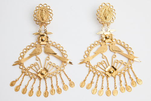 24K Gold Virgin & Lovebird Earrings