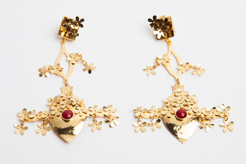 24K Gold and Coral Feria de Las Flores Earrings
