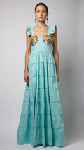 Turquoise Ruffle Sequin Embellished Cotton-Poplin Dress