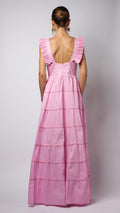 Pink Ruffle Sequin Embellished Cotton-Poplin Dress