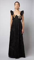 Black Ruffle Sequin Embellished Cotton-Poplin Dress