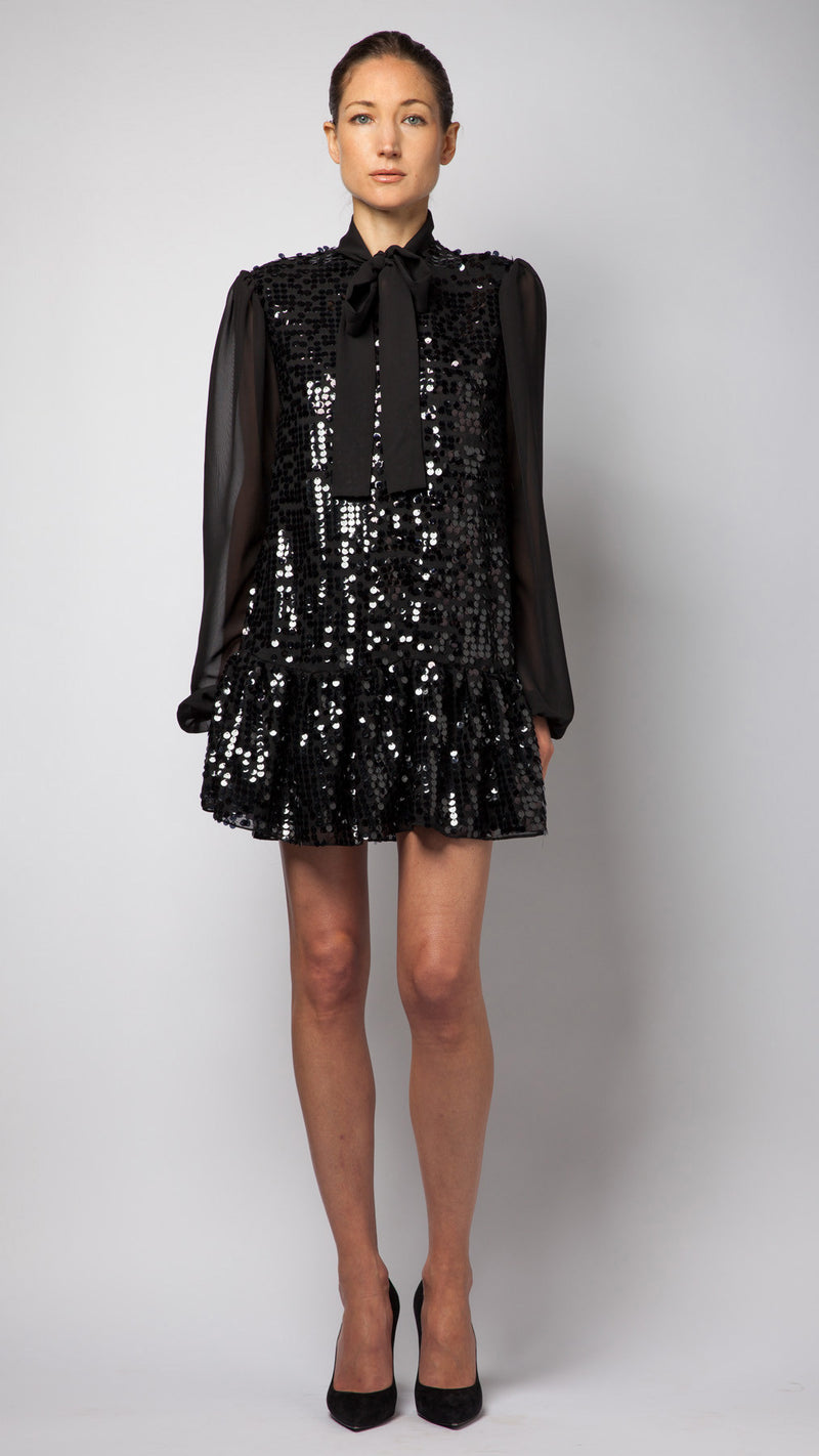 Pussy-Bow Black Sequin Dress