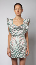 Zebra Print Ruffle Apron Dress