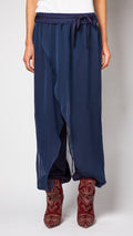 Navy Silk Tie Front Pant (Backorder)